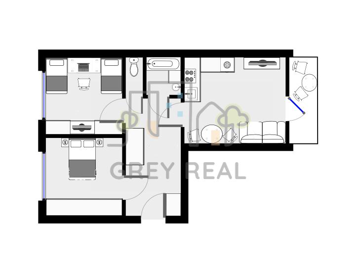 moderne zrekonštruovaný 3 izbový byt v širšom centre mesta